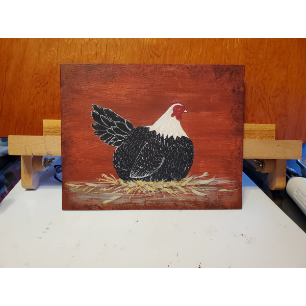 Hen painting on my workspace