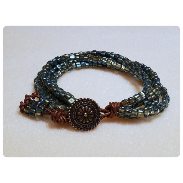 Gypsy Wildflower Bracelet in Sage Colorway with Leather and Beads
