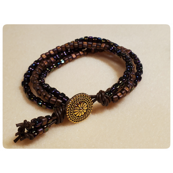 Gypsy Wildflower Bracelet in Spice Colorway with Leather and Beads