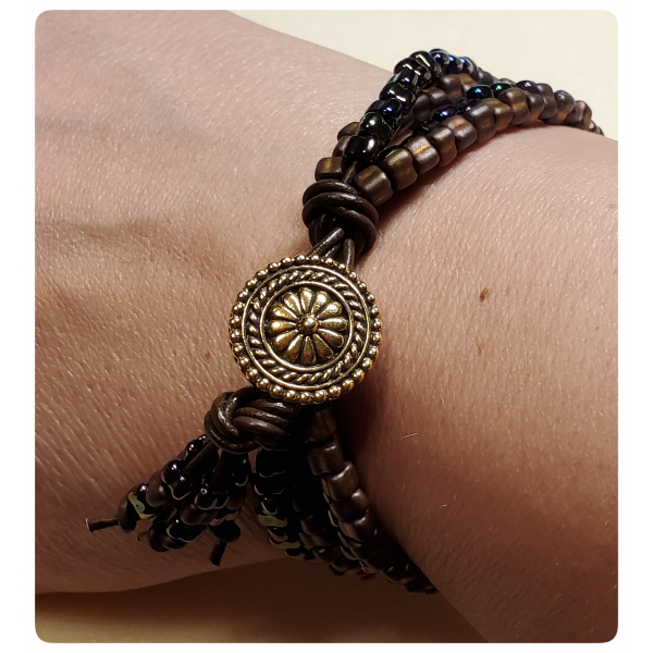 Bali Button Closure - Gypsy Bracelet in Spice Colorway with Leather and Beads