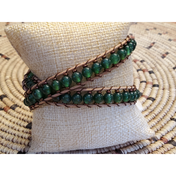 Double Wrap Green Agate Beads