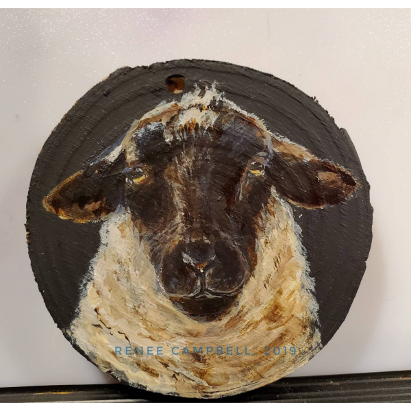 "Ornament - ""Simply Ewe!"" Sheep on Wood Slice Home Decor, Christmas, Ornament"