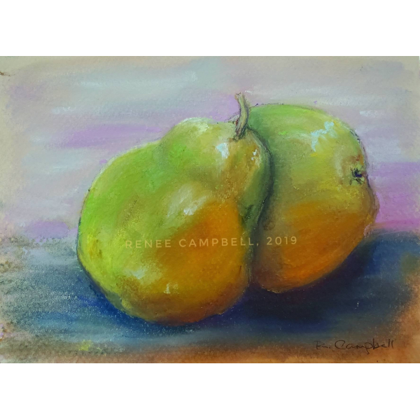 """Original Pears Study, Pastel Painting by Renee Campbell, Small 5"""" x 7"""" Drawing"""