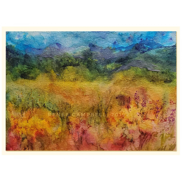 "Original ""Fantasy Meadow,"" Watercolor, Mixed Media Small Painting, Unframed"