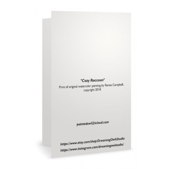 "Back of Cozy Raccoon Art Print Card, 7"" x 5"""