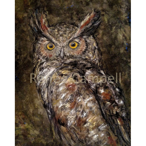 "Card - Great Horned Owl Art Print, 7"" x 5"""