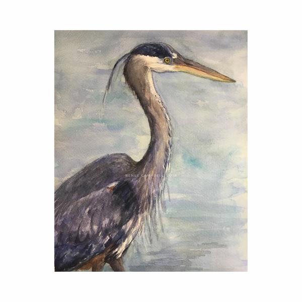 """Original """"Great Blue Heron,"""" Watercolor, 9"""" x 12"""" Painting, Unframed, Renee Camp"""