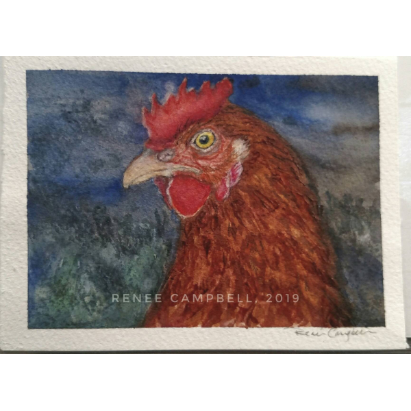 "Original ""Evening Hen,"" Watercolor, Mixed Media Small Painting"
