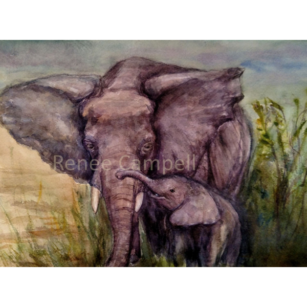 Print of Elephant Mother & Child Watercolor Painting by Renee Campbell