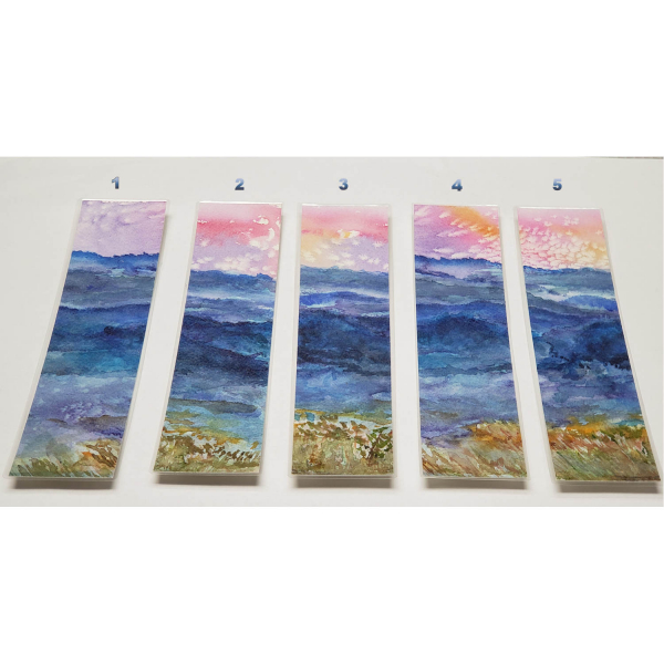 Choose by the number - Watercolor Bookmarks - Blue Mountains