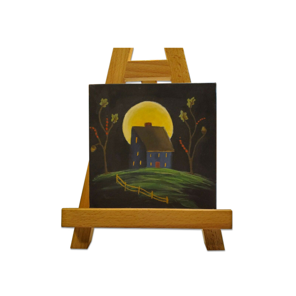 Blue Salt Box with Moon Painting on Easel