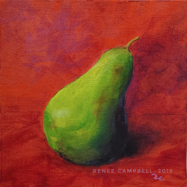 Close Up, Contrasting Pear, Acrylic Painting