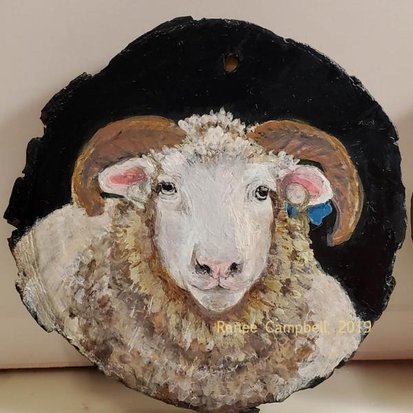 Custom Horned Dorset Sheep Portrait Ornament, Sheep #2, Ewe