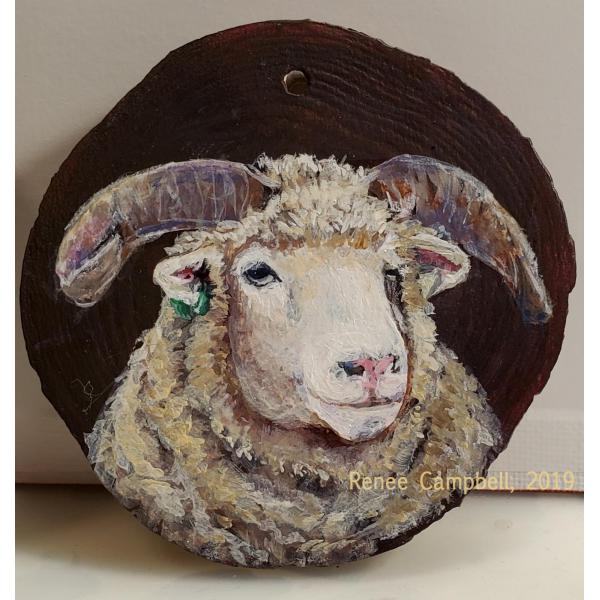 Custom Horned Dorset Sheep Portrait Ornament