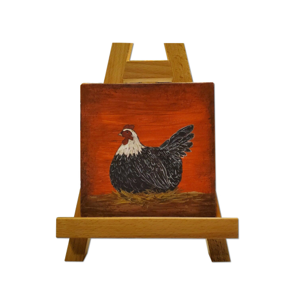 Prim Laying Hen Painting on Easel