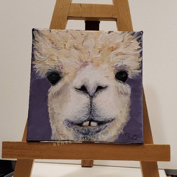 Alpaca Painting Shown on Easel, Small 5x5