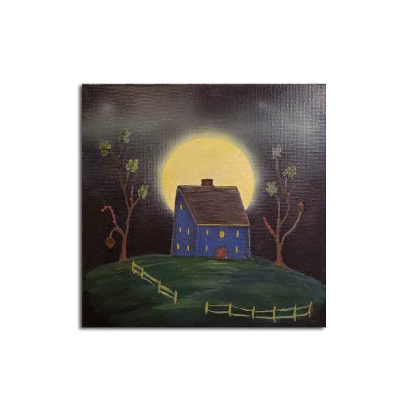 Misty Moon and Blue Saltbox House