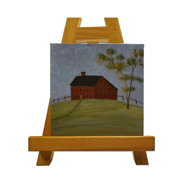 Red Meeting House Painting on Easel