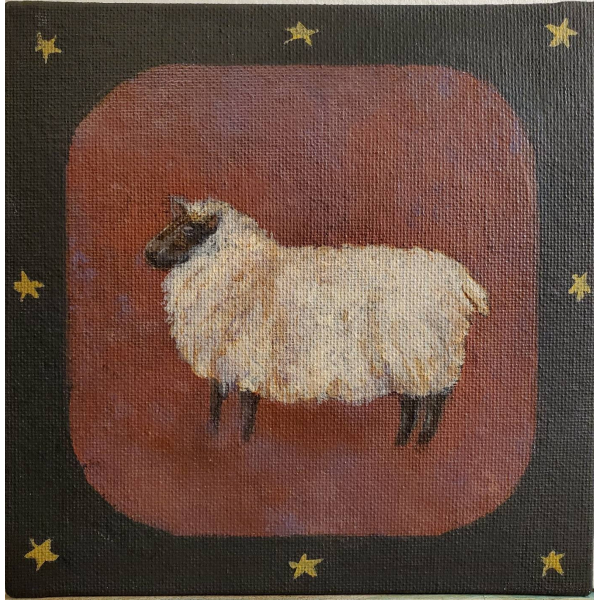 Close up, Acrylic painting of Shetland Sheep, in American Primitive Style
