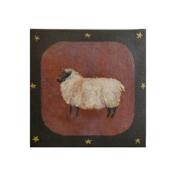 Shetland Sheep, Primitive Style, 6x6 Canvas Panel