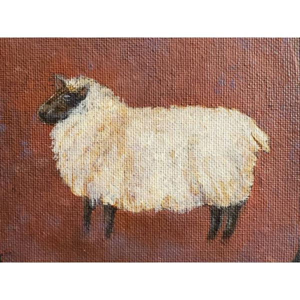 Close up without border, Shetland Sheep, painting