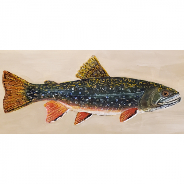 Close up of trout painting by Renee Campbell