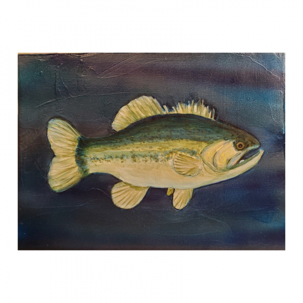 Black Bass Acrylic Painting