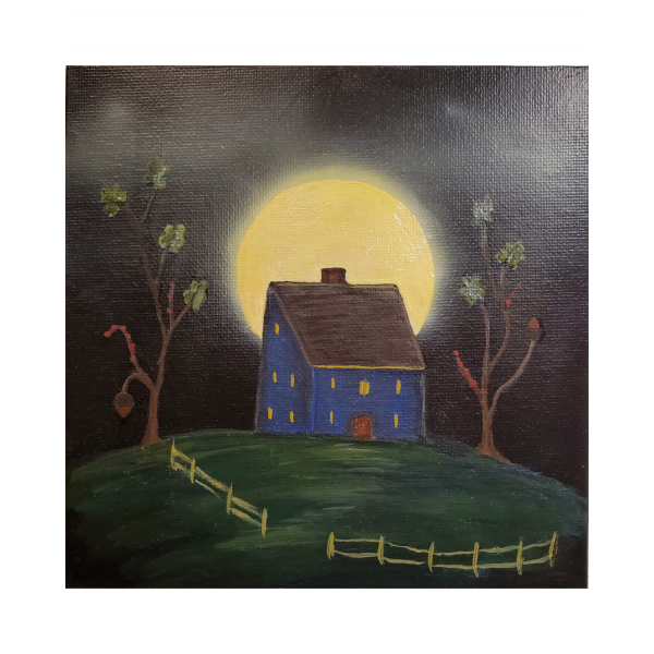 Full view of Misty Moon Blue Saltbox Primitive House