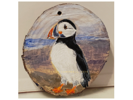 """Ornament - """"Puffin"""" Puffin on Wood Slice Home Decor"""