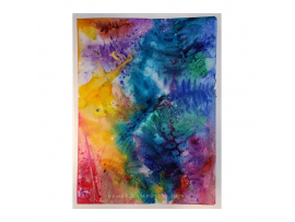 """Original """"Psychedelic Ferns,"""" Watercolor, Mixed Media, 9x12 Painting"""