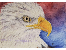 Original ACEO - Bald Eagle Watercolor, American Eagle, ATC Size Small Painting