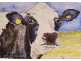 Original Miniature - Cow 'Got Milk' Watercolor, ACEO ATC Size Small Painting