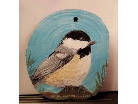 "Ornament - ""Chickadee"" Chickadee on Wood Slice Home Decor, Christmas, Ornament"