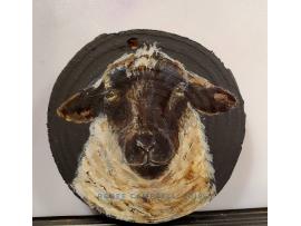 """Ornament - """"Simply Ewe!"""" Sheep on Wood Slice Home Decor, Christmas, Ornament"""