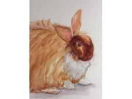 "Original ""Harper, aka Buns"" Watercolor, Mixed Media Small Painting, Pet"