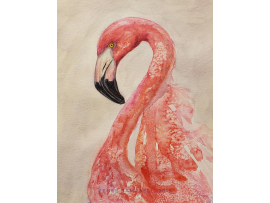 "Original ""Fluid Flamingo,"" Loose Watercolor, Mixed Media 9x12 Painting"