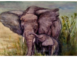"Original ""Mother Elephant & Child"" Watercolor Painting by Renee Campbell, 9x12"