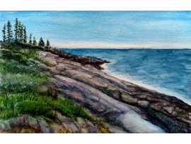 "Original ""Rocky Shore, Pemaquid Point, Maine"" Watercolor Painting by Renee Campb"