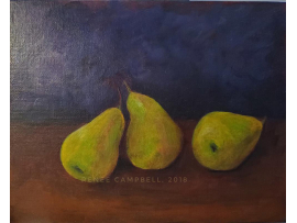 """Original Dancing Pears, Acrylic by Renee Campbell, 8"""" x 10"""" Painting, Still Life"""