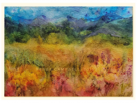 "Original ""Fantasy Meadow,"" Watercolor, Mixed Media Small Painting, Unframed"