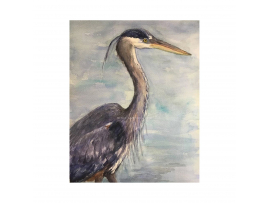 "Original ""Great Blue Heron,"" Watercolor, 9"" x 12"" Painting, Unframed, Renee Camp"