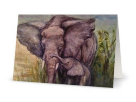 Elephant Mother & Child, Artwork Print, Blank Greeting Card by Renee Campbell