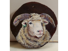 Custom Horned Dorset Sheep Portrait Ornament