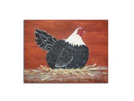 Country Prim Laying Hen, 8 x 10 Painting