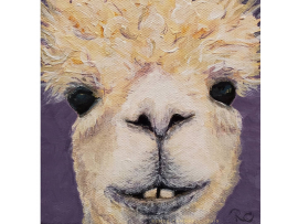 5x5 Alpaca Painting, Animal Pet Portrait by Renee Campbell