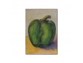 Green Pepper - Artist Trading Card, ACEO - Original