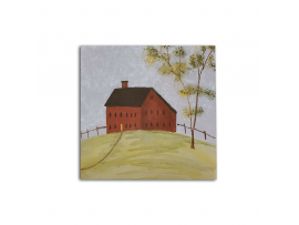 Red Meeting House Painting on Board