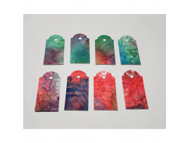 Gift Tags Red Green Splatter, 8pc Set