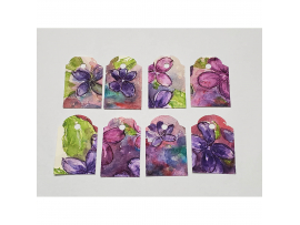 Hand painted Violets Gift Tags
