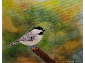 Chickadee with Blended Background